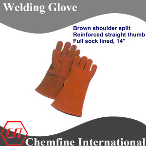 Brown Shoulder Split, Reinforced Straight Thumb, Full Sock Lined Leather Welding Glove pictures & photos