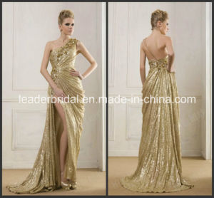 Gold Sequins Cocktail Evening Dress Vestidos Fashion Split Prom Gown Ld11511 pictures & photos