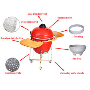 Garden Large 23.5 Inch Ceramic Kamado Portable BBQ Egg Grill