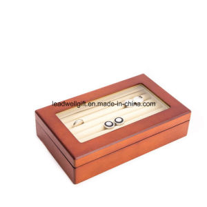 Wooden Cufflink Storage Box with Clear Top Window pictures & photos