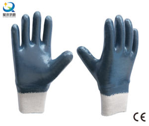 Cotton Interlock Shell Nitrile Full Coated Safety Work Gloves (N6039) pictures & photos