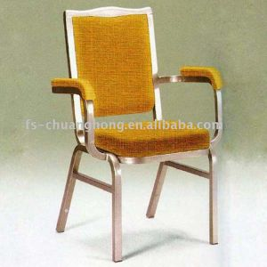Gold Yellow Fabric Hotel Chair with Comfortable Arms (YC-D114) pictures & photos