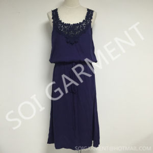 Summer Loose Sleeveless Woven Longe Dress with Lace (DR-88)