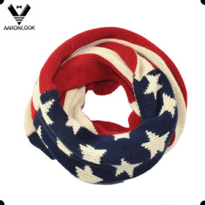 Winter Circle America Star Flag Fancy Knitted Scarf pictures & photos