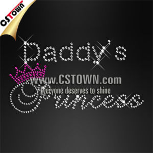 Daddy′s Princess Letter Clothing Rhinestone Cheap Iron on Transfers