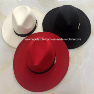 Fashion Fake Wool Lady′s Hat with Metal Decoration pictures & photos
