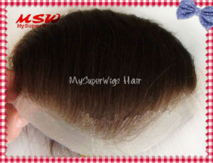 Single Knotting Hair Clear Thin Poly Base Men′s Hairpiece pictures & photos