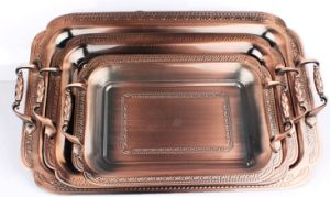3PCS Copper Tray Set with Plastic Handle pictures & photos