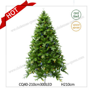 H6FT Plastic Pine Prelit Artificial Christmas Tree with LED Lights pictures & photos