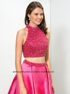 Women Two Pieces Beading Chiffon Evening Party Prom Dress pictures & photos