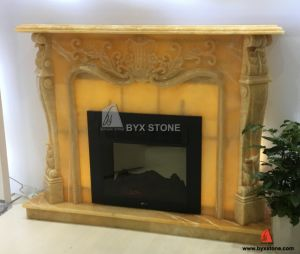 Beige Onyx Flower Carved Fireplace for Home Decoration pictures & photos