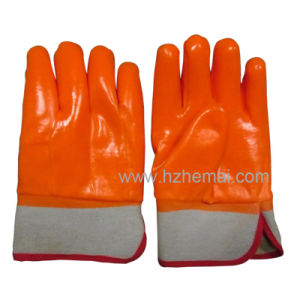 3 Layers Dipped Fluorescent PVC Gloves Insulated Industry Work Glove pictures & photos