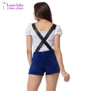 Sexy White Top and Suspender Shorts Bavarian Beer Girl Costume L1221 pictures & photos