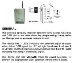 GPS Tracker Detector GSM Bug Detector Anti-Tracking High Sensitivity GSM Phone Signal Detector for Security Security Products pictures & photos