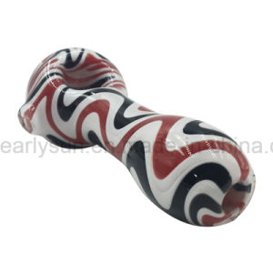 Red Black White 3 Colors Mixed Hybrid Lines Spoon Hand Pipe Glass (ES-HP-178) pictures & photos