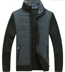 Men′s Cardigan Sweater with Fleece Lining and Combined Woven Fabric (238) pictures & photos