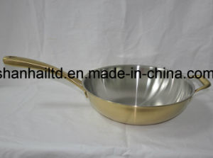 Titanium Gold Wok Tri-Ply Body All Clad Cookware pictures & photos