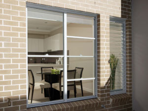 Three Railways Aluminium Sliding Window with French Grill Design pictures & photos