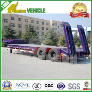 3 Axles Lower Loading Deck Transport Crane Trailer