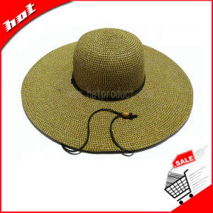 Wide Brim Sun Paper Straw Hat Floppy Woman Hat pictures & photos