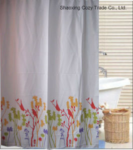 Simple Flower Design Polyester Shower Curtain pictures & photos