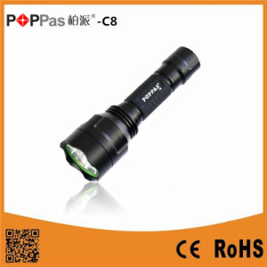 Poppas-C8 Rechargeable Torch Flashlight Aluminum LED Light Xmlt6 /L2 500 Lumens Tactical Flashlight pictures & photos