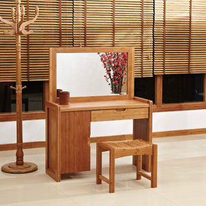 Modern Bamboo Dressing Table with Mirrors and Stool pictures & photos
