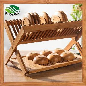 Foldable Bamboo Kitchen Holder Dish Rack pictures & photos