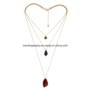 Multi Layers Retro Long Chain Women′s Necklace Irregular Gem Pendant Jewelry pictures & photos