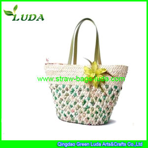 Luda PVC Handle Cornhusk Straw Beach Bags with Flowers