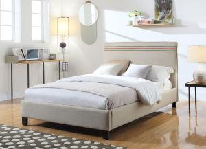 Modern Home Hotel Wood Furniture Fabric Beige Bedroom Furniture