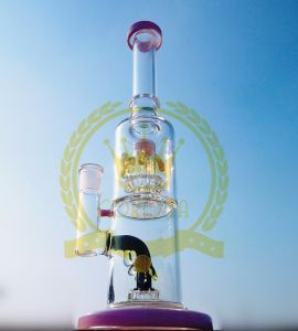 Wholesale Glass Water Pipe Smoking Pipe with 2 Layer Cyclone Perc and Birdcage Perc pictures & photos