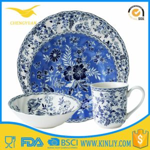 New Product Custom Unique Shape Blue Round Plate Melamine Ware pictures & photos