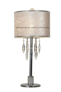 Phine Pd1767lm-01 Metal Desk Lamp with Fabric Shade Plated Chrome Table Lighting pictures & photos