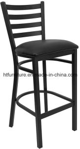 Ladder Back Metal Restaurant Barstool with Vinyl Seat