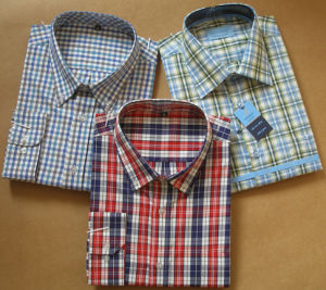 Poplin T/C 65/35 Long Sleeves Men Casual Check Shirts (HY006) pictures & photos