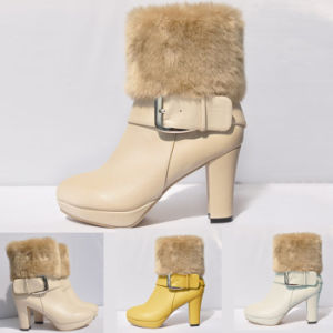 Ladies Ankle Low Boots Shoes Fur MID High Heels Platform