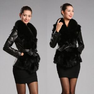 Free Shipping Women Outerwear Long Sleeve Coat Faux Fur Sheepskin Leather Bow Belt Jacket pictures & photos