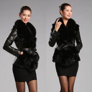 Free Shipping Women Outerwear Long Sleeve Coat Faux Fur Sheepskin Leather Bow Belt Jacket