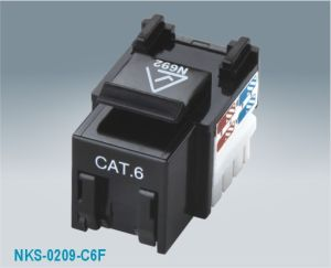 CAT6 UTP 90 Degree RJ45 Keystone Jack Shuttered (NKS-0209F-C6)