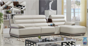 Small Size L Shape Leather Home Sofa (1401#) pictures & photos