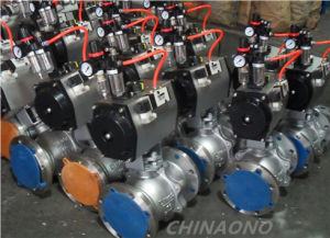 Pneumatic Actuator Stainless Steel Flange Type Ball Valve pictures & photos