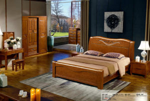 Chinese Oak Wood Bedroom Furniture, Wooden Hotel Bed (803) pictures & photos