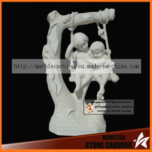 Swing Children Stone Carving Statues for Garden Park Nss033 pictures & photos