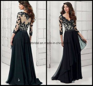 Black Lace Formal Prom Gowns Chiffon A-Line Mother of Bride Dresses Z4017 pictures & photos