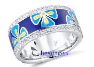 Epoxy Resin Flower 925 Sterling Silver Ring (R309858)