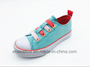 Magic Tape Pink Heart Canvas Shoes for Girls (ET-LH160279K) pictures & photos