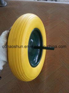 Yellow 3.50-8 PU Foam Wheel with Steel Rim pictures & photos