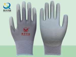 Grey Polyester Liner with Grey PU Coated Safety Gloves pictures & photos