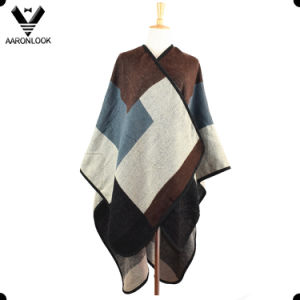 2017 High Quality New Design Joint Knit Pattern Blanket Poncho pictures & photos